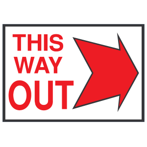 Way out clipart graphic black and white download This Way Out Right Sign Magnet graphic black and white download