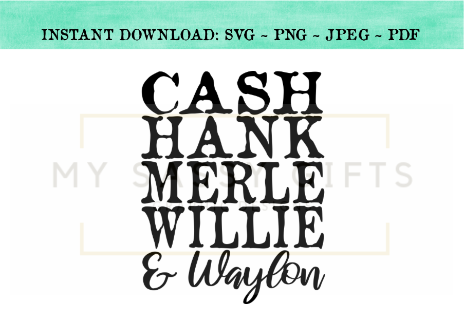 Waylon and willie clipart free stock Cash Hank Merle Willie and Waylon Country Music Cut File SVG ... free stock