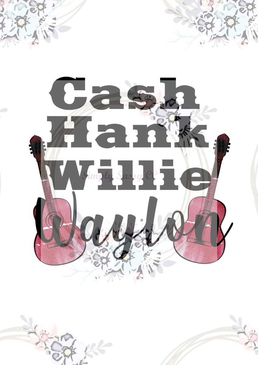 Waylon and willie clipart picture freeuse Cash Hank Willie and Waylon with Guitar Clear Waterslide picture freeuse