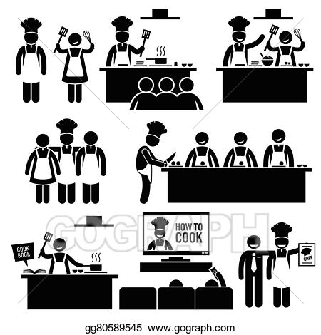 We learn together clipart graphic transparent EPS Illustration - Cooking class chef cook cliparts. Vector ... graphic transparent
