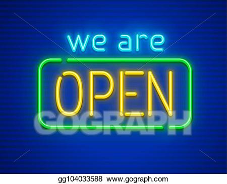 We are open sign clipart svg royalty free download Vector Stock - We are open neon sign. Clipart Illustration ... svg royalty free download
