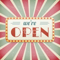We are open sign clipart banner black and white We Are Open Vintage Background Sign stock vectors - Clipart.me banner black and white