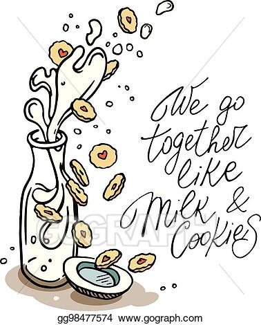 We go together clipart png black and white EPS Illustration - Drawing of milk bottle and cookies ... png black and white