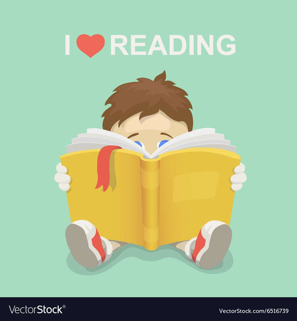 We love reading clipart clip freeuse library Boy with a book I love reading clip freeuse library