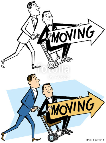 We re moving clipart free jpg black and white download We\'re Moving! Two men hold a moving sign.\