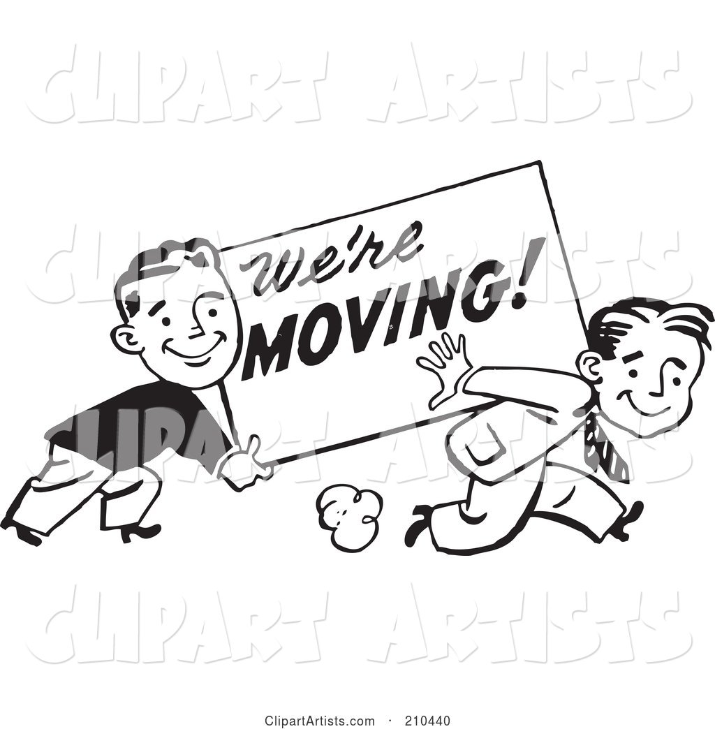 We re the same clipart clipart royalty free download Retro Black And White Men Carrying A We\'re Moving Sign ... clipart royalty free download