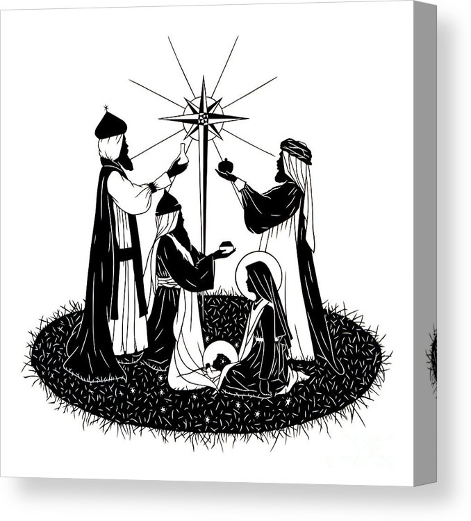 We three kings black & white clipart picture freeuse stock We Three Kings - Dpwtk Canvas Print picture freeuse stock