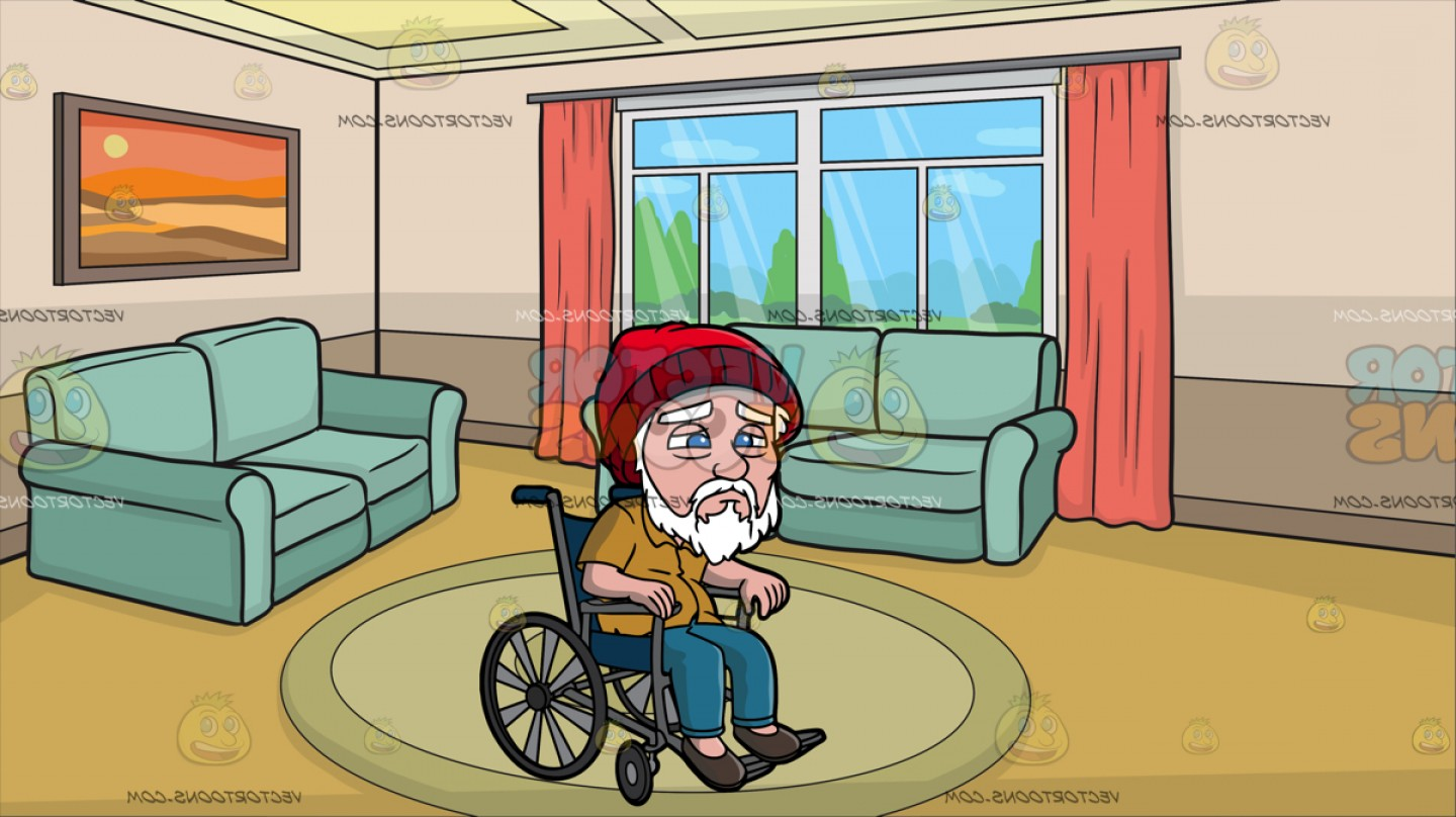 Weak old man clipart royalty free A Weak Old Man In A Wheelchair At A Small Living Room | SOIDERGI royalty free