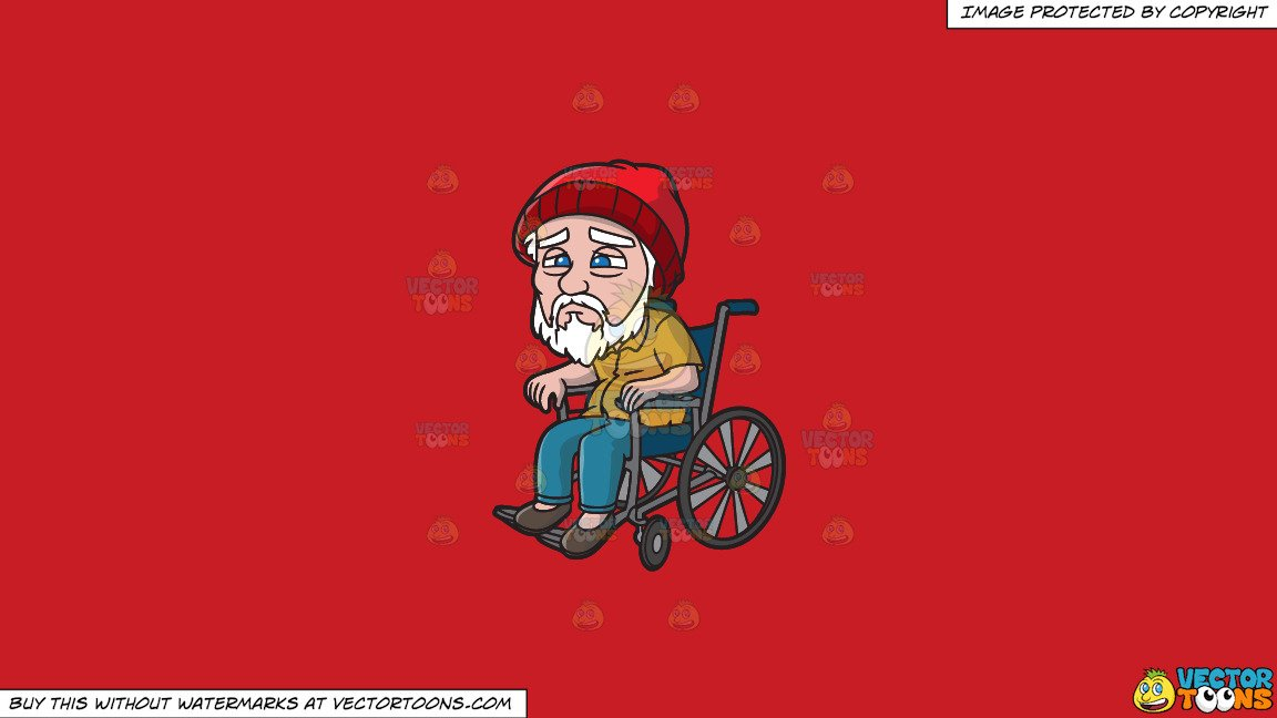 Weak old man clipart clip art free Clipart: A Weak Old Man In A Wheelchair on a Solid Fire Engine Red C81D25  Background clip art free
