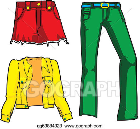 Wear neon clipart freeuse Stock Illustration - Denim fashion in neon. Clipart Drawing ... freeuse