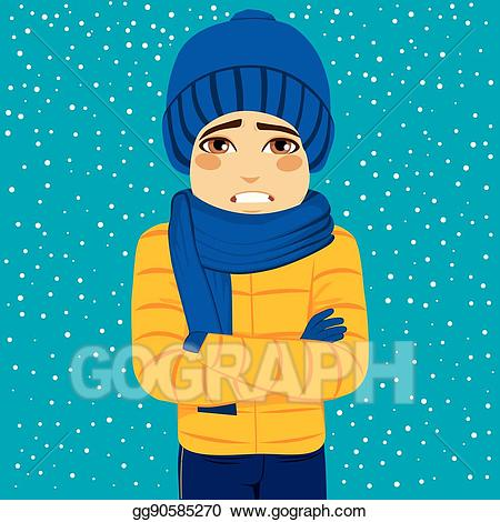 Wearing warm clothes clipart clipart library Vector Illustration - Man winter shivering. EPS Clipart ... clipart library