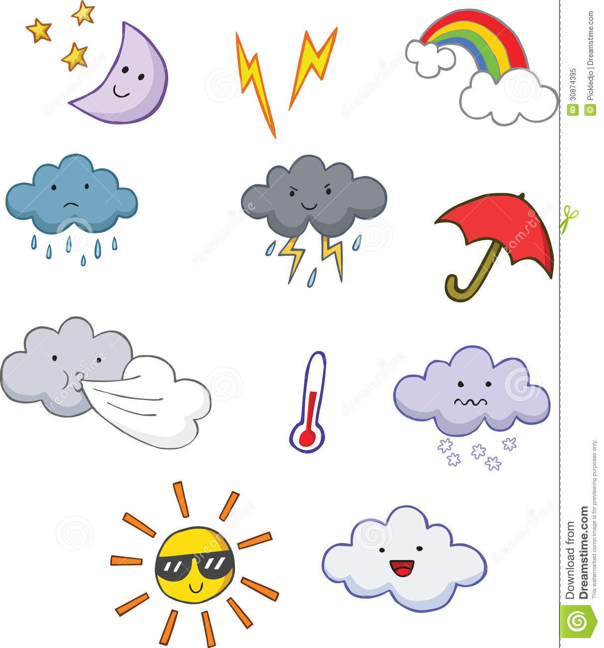 Weather cartoon clipart image black and white Fun Cute Cartoon Weather Symbols - Download From Over 40 ... image black and white