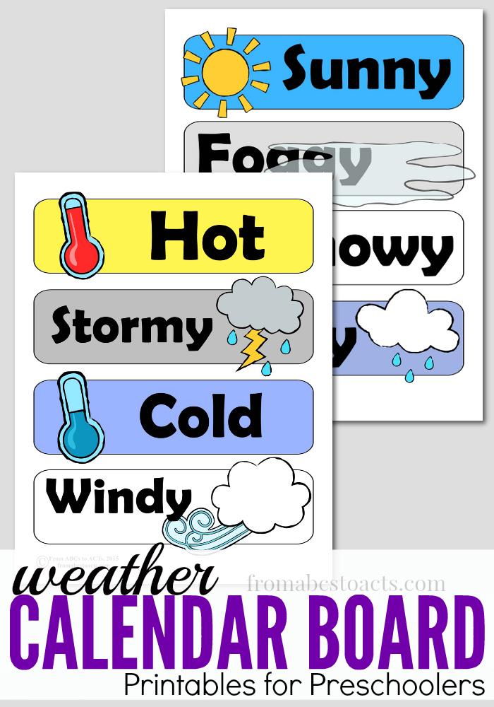 Weather clipart preschool image black and white library Preschool Calendar Board Weather Printables   From ABCs to ACTs image black and white library