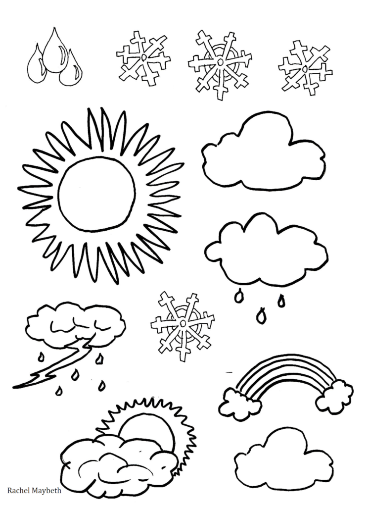 Weather clipart preschool graphic transparent library coloring ~ Rachel Maybeth Free Weather Clipart Coloring ... graphic transparent library
