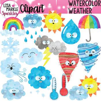 Weather clipart preschool stock Weather Clipart Watercolor stock