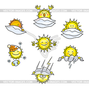 Weather conditions clipart clip royalty free download Icons with sun in different weather conditions - vector clip art clip royalty free download