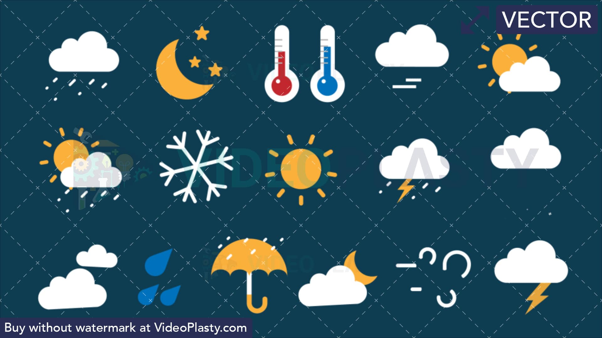 Weather icon pack clipart image royalty free download Weather Bundle - 16 Flat Icons [VECTOR] image royalty free download