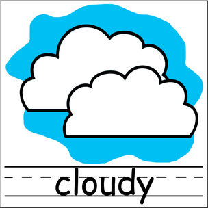 Weather icons clipart for teachers svg black and white download Clip Art: Weather Icons: Cloudy Color Labeled I abcteach.com ... svg black and white download