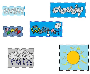 Weather words clipart banner black and white stock Weather Words Clipart - For Personal or Commercial use! banner black and white stock
