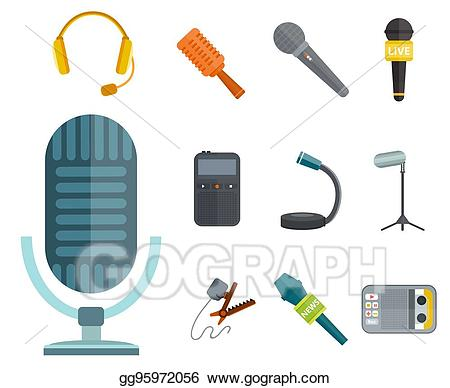 Web broadcast clipart clip library download Vector Art - Microphone vector icon isolated interview music ... clip library download