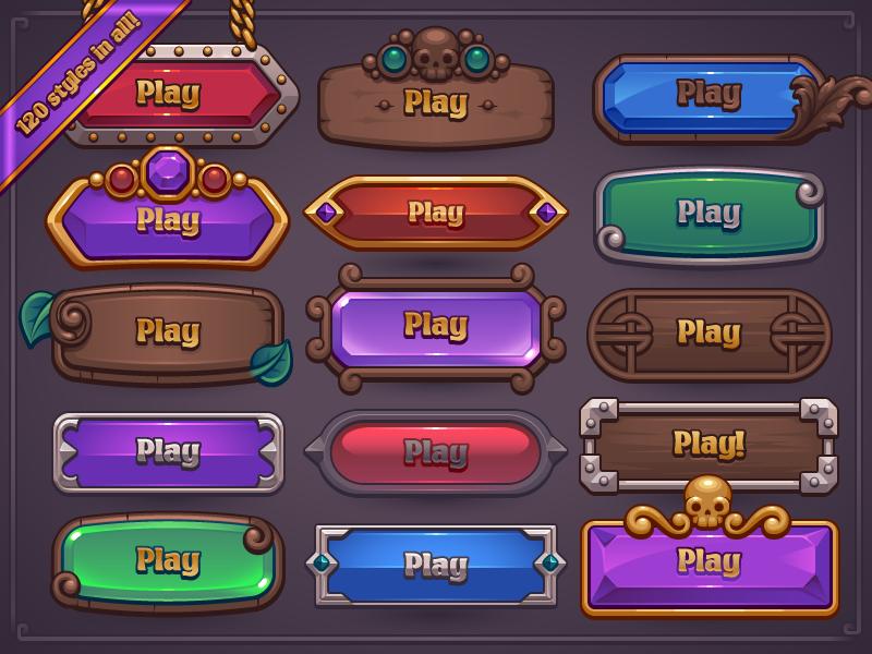 Web button clipart maker vector freeuse library Fantasy Game Button Maker   UI Design inspiration in 2019 ... vector freeuse library
