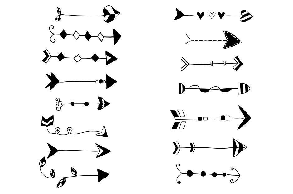 Wedding arrow clipart freeuse library Tribal hand drawn arrows clipart, Doodle wedding arrow clip ... freeuse library