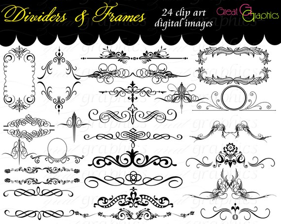 Wedding artwork clipart graphic black and white download Frame Clip Art Digital Frame Clipart Flourish Clip Art Digital ... graphic black and white download