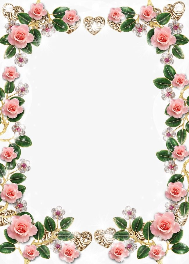 Wedding border frames clipart png Crystal Flowers Border Frame Background, Frame Clipart ... png