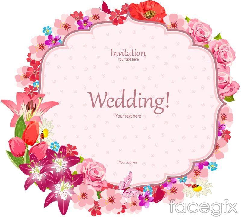 Wedding card border design vector clipart picture free download Elegant floral border wedding invitation card vector ... picture free download