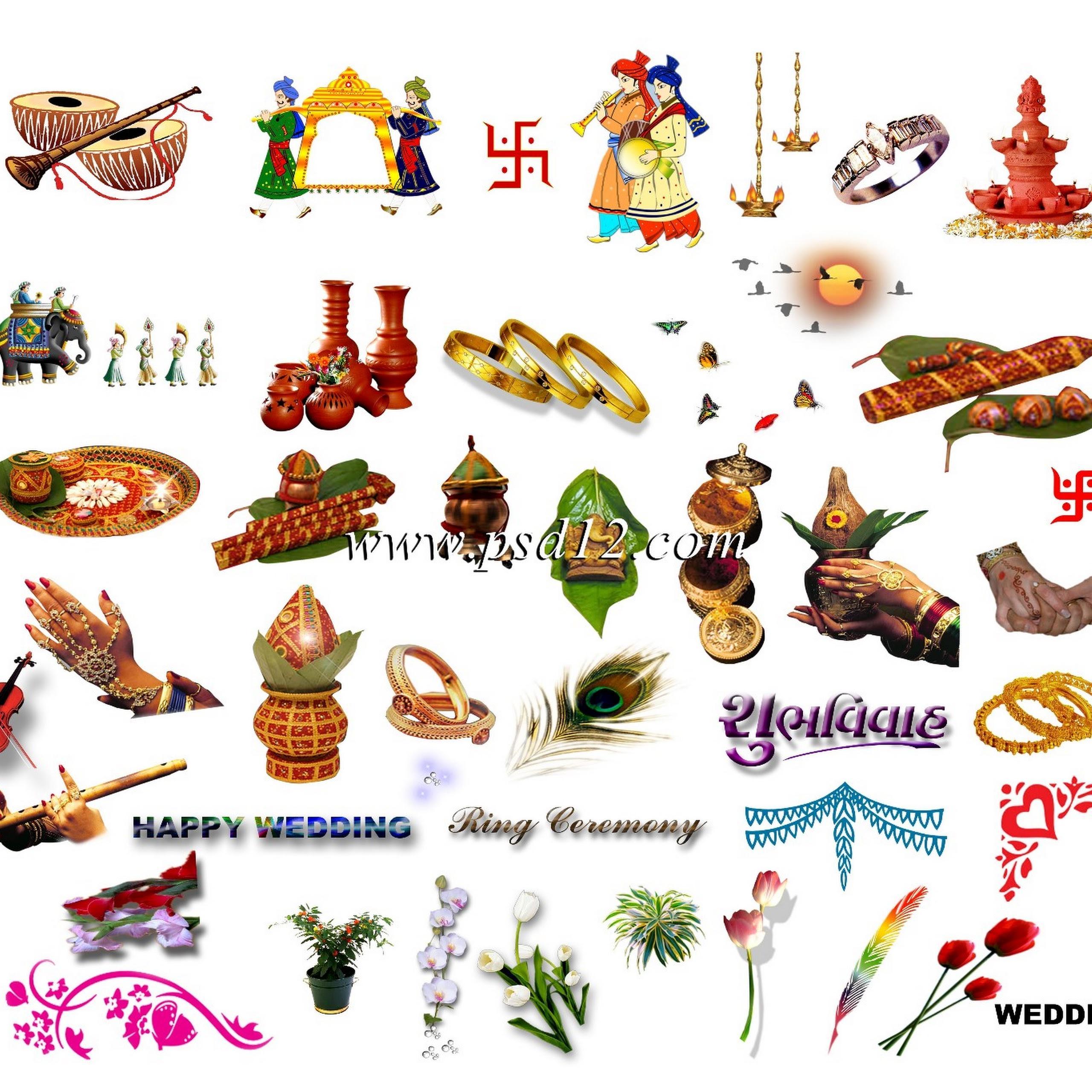 Wedding card clipart color clip transparent Indian Wedding Card Symbols Png (+) - Free Download ... clip transparent