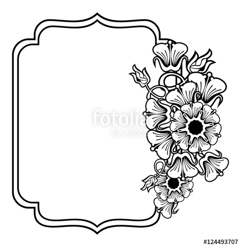 Wedding card flower clipart freeuse download Vertical contour black and white frame with abstract flowers ... freeuse download