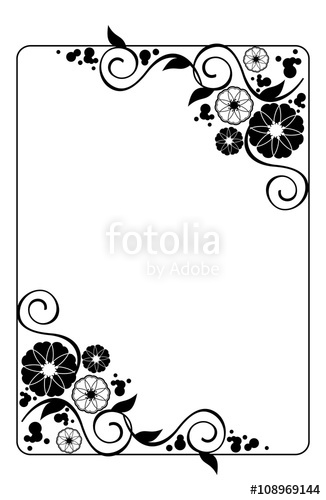 Wedding card frame clipart vector black and white stock Flower frame. Decorative black and white frame with floral ... vector black and white stock