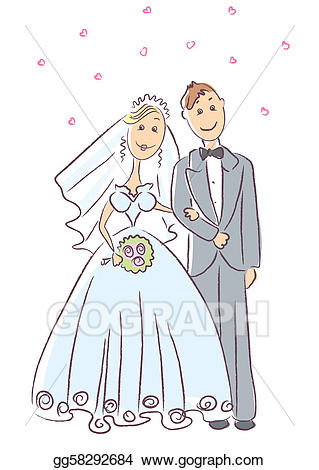 Wedding ceremony clipart banner transparent Vector Illustration - Bride and groom. vector wedding ... banner transparent