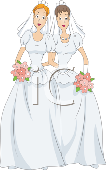Wedding clipart 2 women jpg free Royalty Free Clipart Image of Two Women in Wedding Dresses ... jpg free