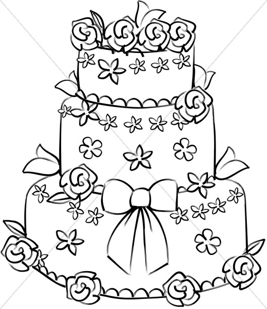 Wedding clipart cake clipart library download Rose Decorated Wedding Cake | Christian Wedding Clipart clipart library download