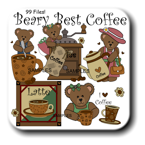 Wedding clipart coffee vector freeuse stock Country Coffee Bears Graphics and Printable WMF Clipart ... vector freeuse stock