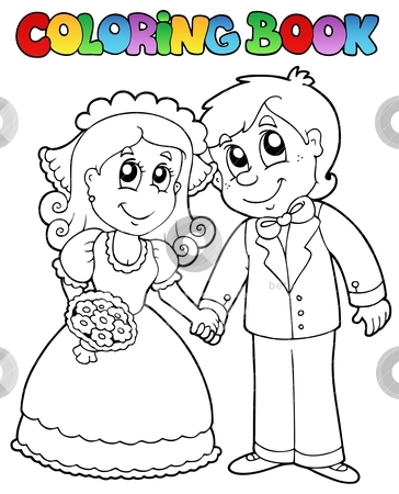 Wedding clipart coloring jpg royalty free download Coloring book with wedding couple stock vector jpg royalty free download