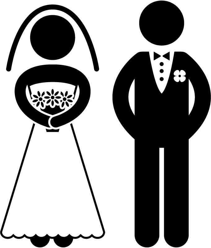 Wedding clipart cute clip art black and white Bride And Groom Silhouette Wedding Clipart - Clip Art Library clip art black and white