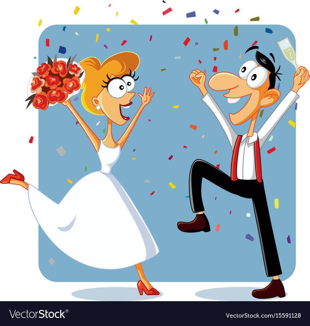 Wedding clipart funny vector freeuse stock Funny bride and groom dancing at their wedding vec vector freeuse stock