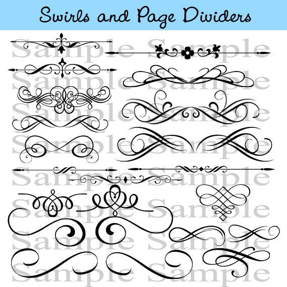 Wedding clipart instant download clipart download Swirls Wedding Clipart INSTANT DOWNLOAD Calligraphy Design ... clipart download