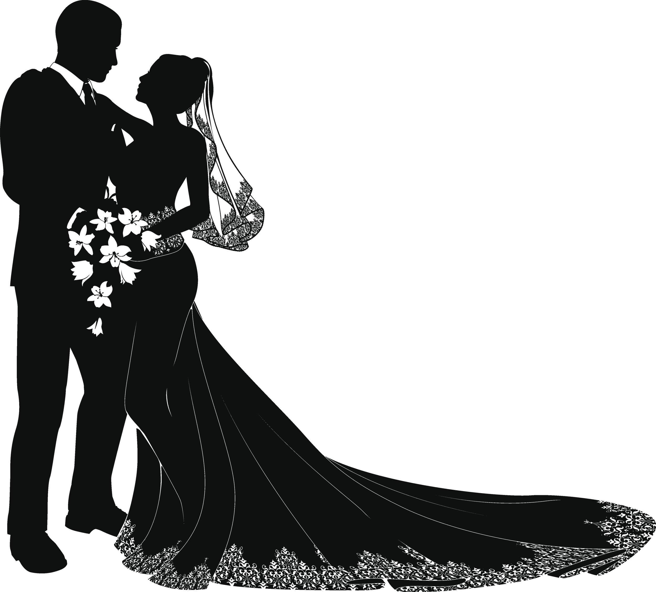 Wedding clipart silhouette graphic black and white stock Bride and groom silhouette wedding clipart clipart images ... graphic black and white stock
