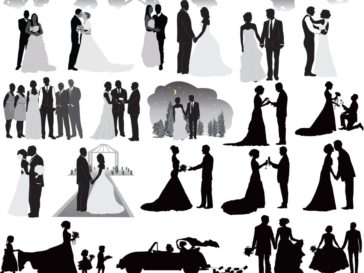 Wedding clipart silhouette royalty free Wedding clipart silhouette - Clip Art Library royalty free