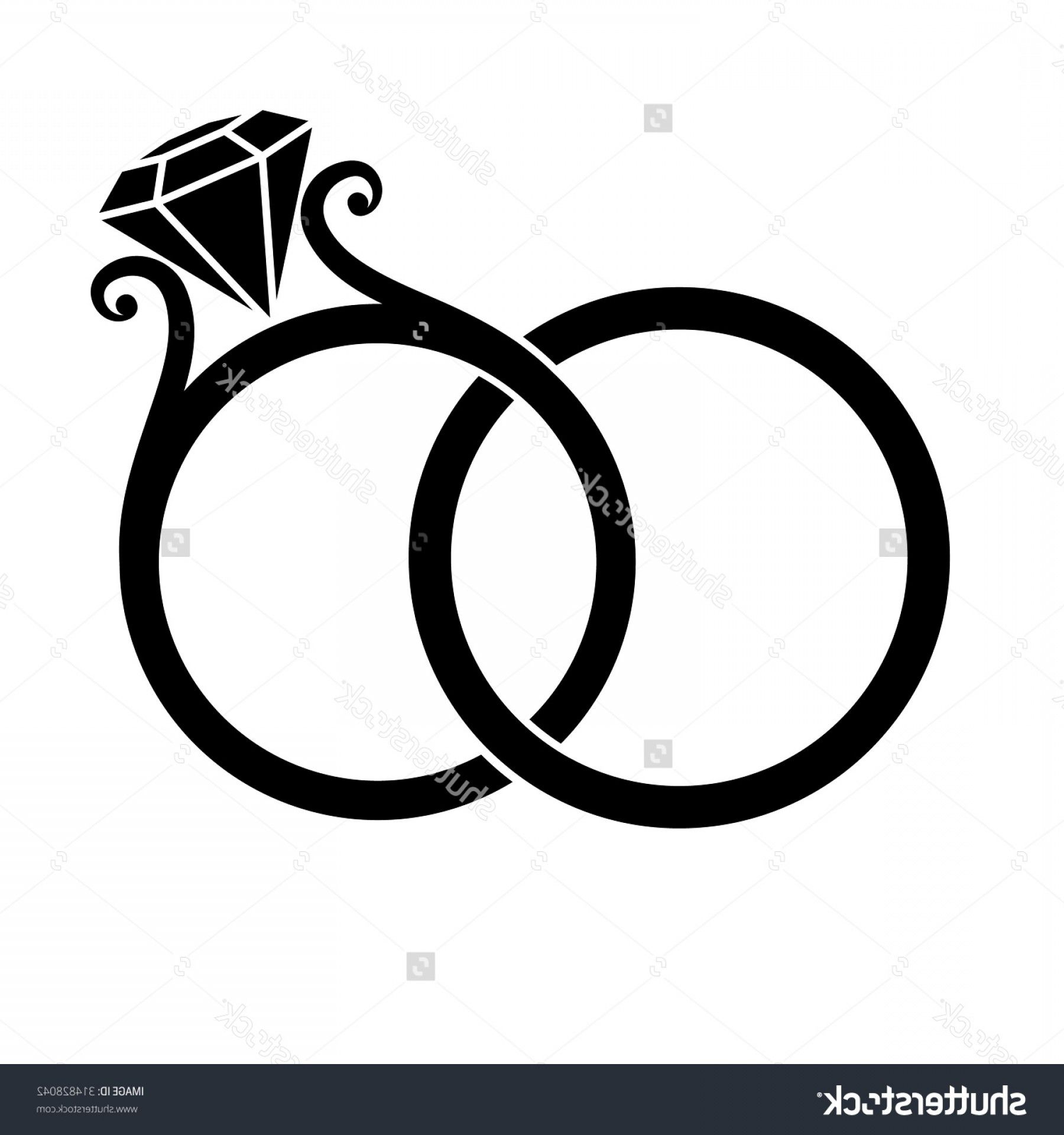 Wedding rings clipart vector clipart black and white library Wedding Clip Art Vector Graphics: Bride And Groom Silhouette ... clipart black and white library
