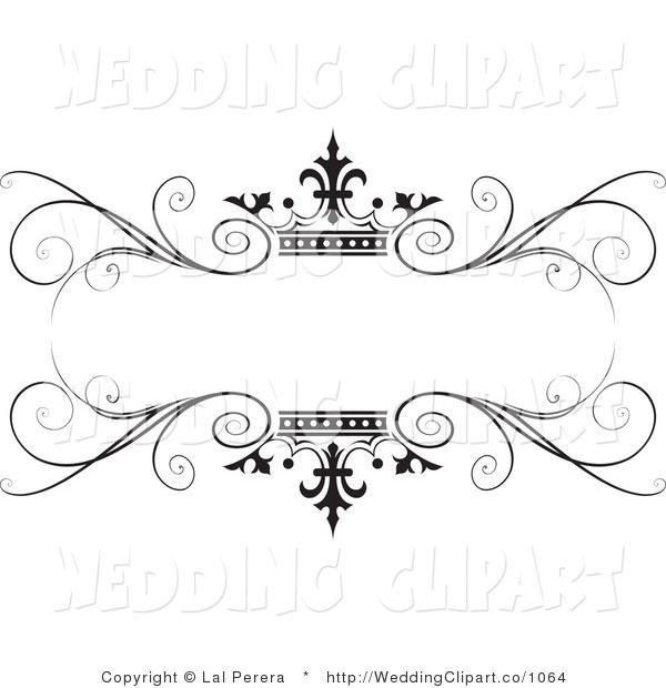 Wedding clipart vector vector freeuse download Vector Marriage Clipart of a Wedding Ornate Black Swirl and ... vector freeuse download