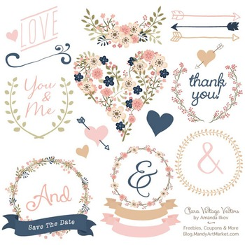 Wedding clipart vintage jpg library library Clara Vintage Floral Wedding Heart Clipart in Navy & Blush jpg library library