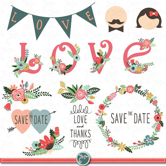 Wedding clipart vintage graphic black and white Wedding Clipart Design,Wedding Floral clipart,Vintage ... graphic black and white