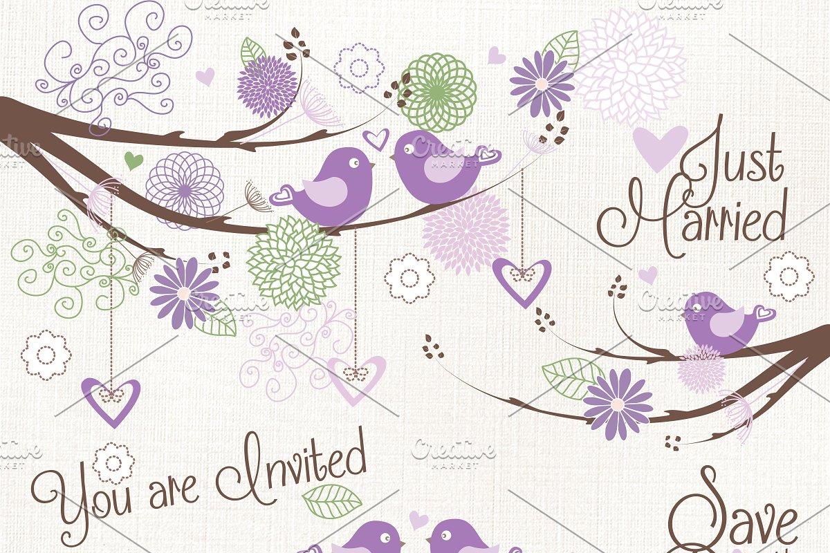 Wedding clipart violet png royalty free download Purple bird wedding clipart vector png royalty free download