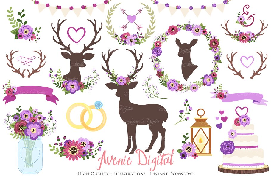 Wedding clipart violet graphic stock Purple Rustic Wedding Clipart graphic stock