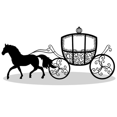 Wedding coach black and white clipart clip library stock Decorative brougham. Coach. Wedding carriage. Vintage ... clip library stock