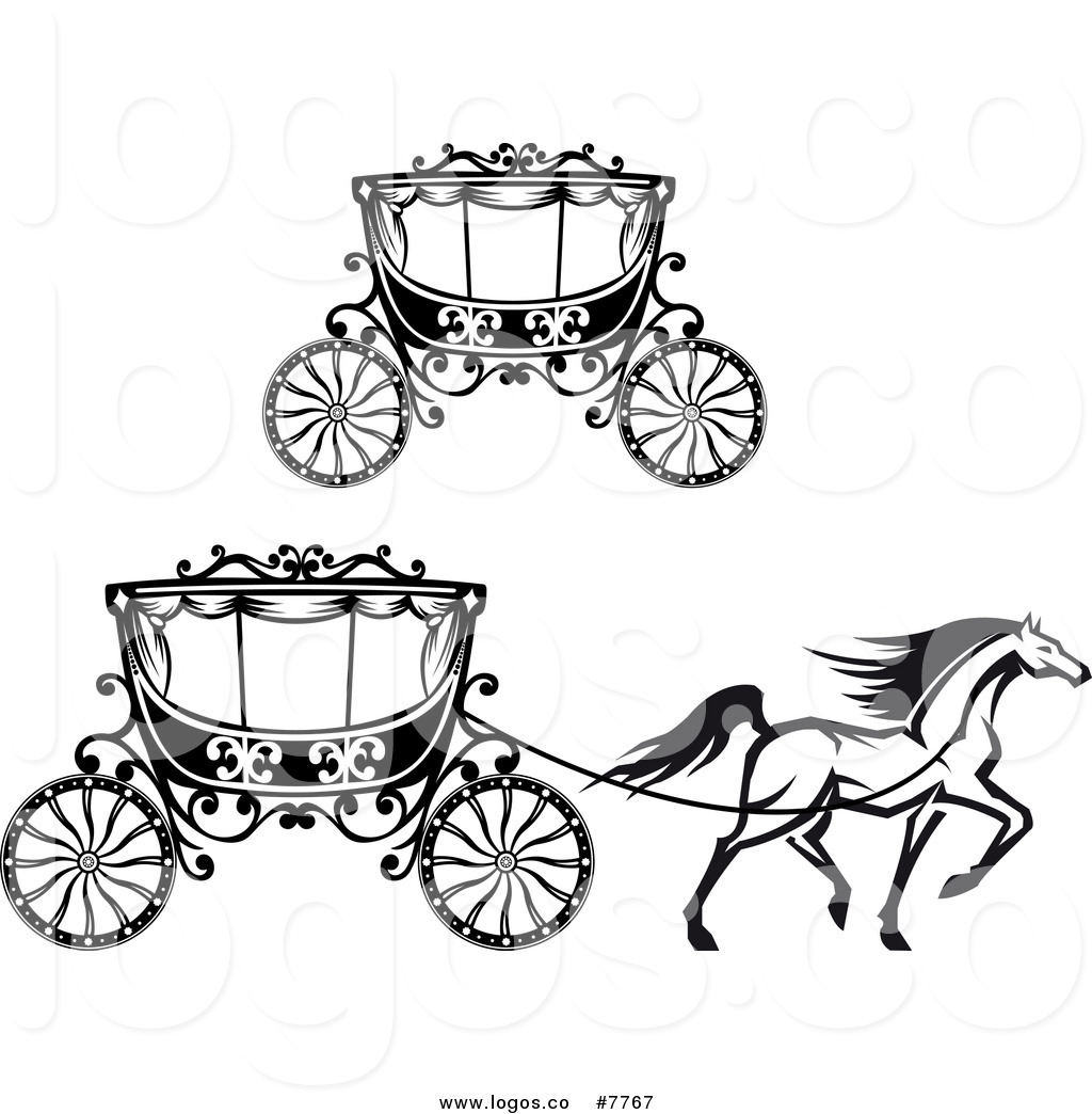 Wedding coach black and white clipart freeuse Royalty Free Clip Art Vector Black and White Horse and ... freeuse
